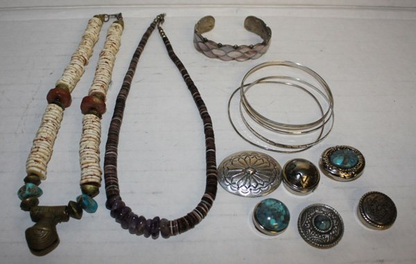 Group of Native American style jewelry.