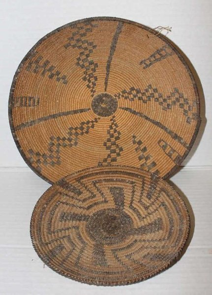 Group of 2 Papago tray baskets.