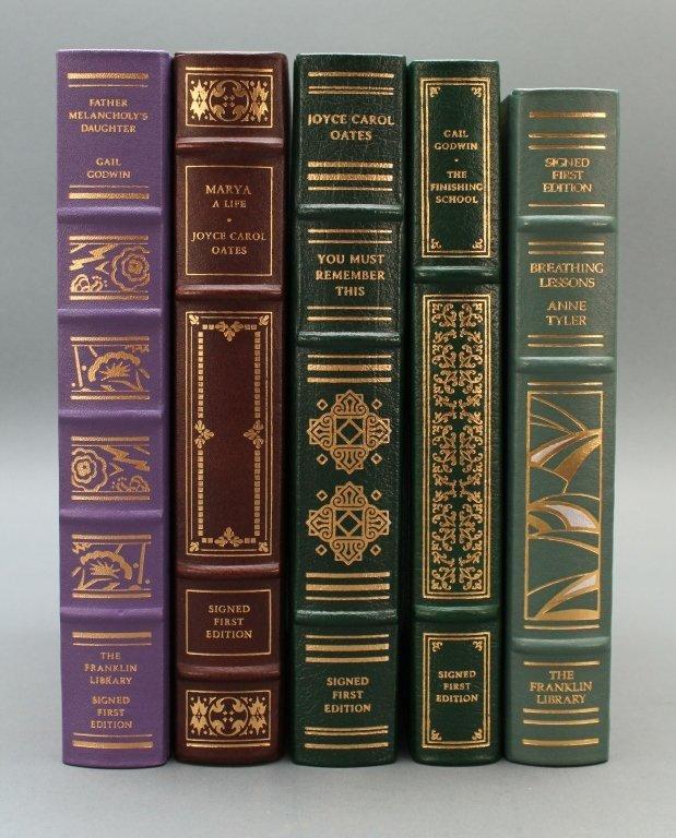 5 Franklin Library, Signed: Oates, Tyler, Godwin..