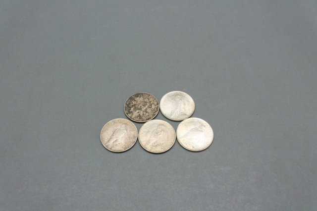 Lot of 5 Peace silver dollars including