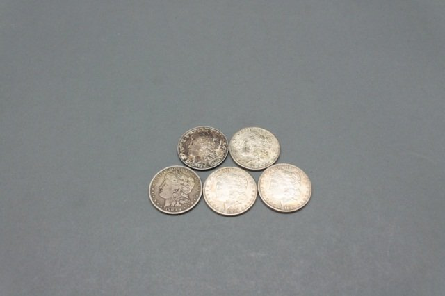 Lot of 5 Morgan silver dollars including