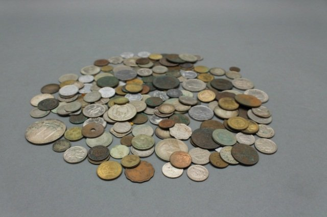 Bag of various old foreign coins.