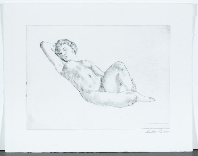 Lawton Parker Signed Print of Nude Woman