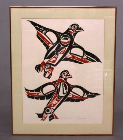 "Signed Serigraph, ""Two Grouse in Flight"""
