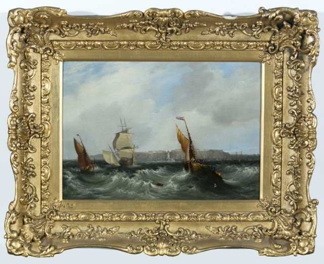 Pair of 19th C Oil on Canvas Seascapes