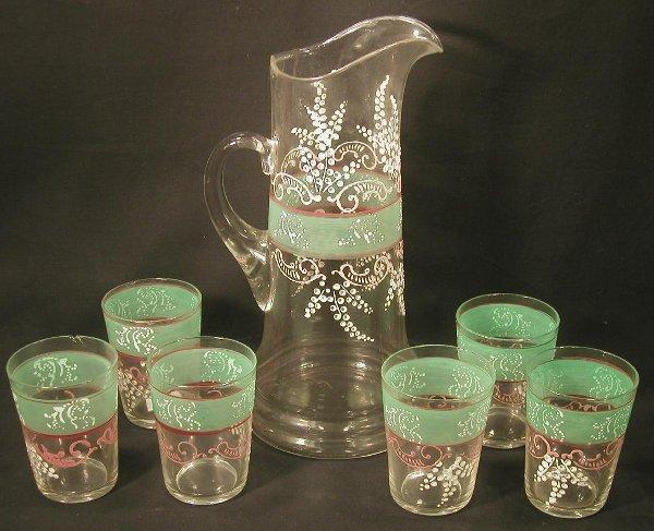 3: Victorian pressed glass pitcher & 6 glass