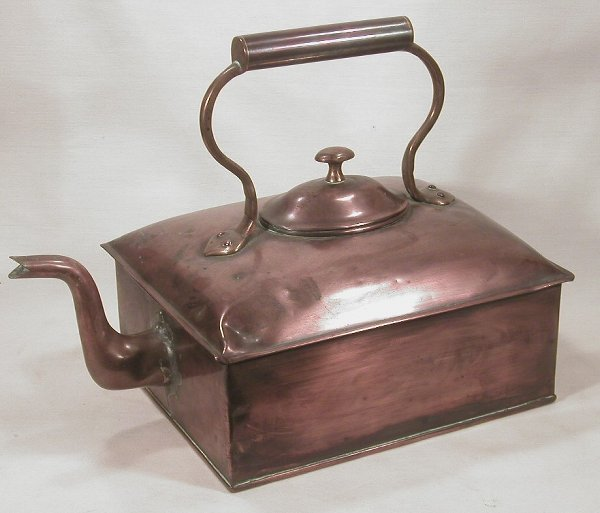 5: Rectangular copper tea kettle #2 with fixe