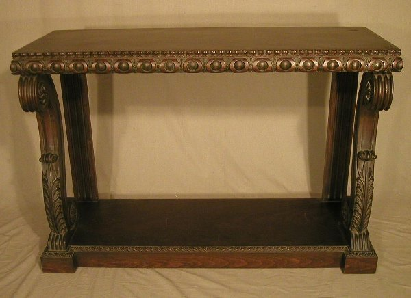 """18: Walnut foyer table with carved """"S"""" scroll"""