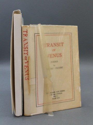 2 Books incl: Harry Crosby. TRANSIT OF VENUS.
