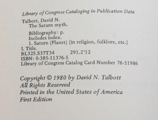 Talbott. THE SATURN MYTH. 1980. 1st edition. - 3