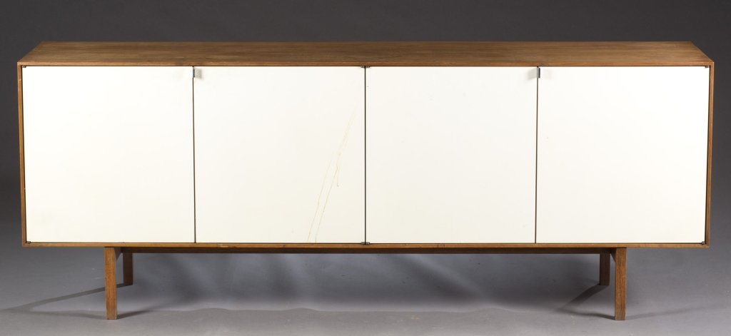 Credenza with white laminate doors.