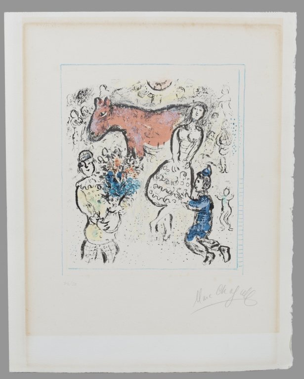Marc Chagall. Little Red Horse. Col lith. Signed.