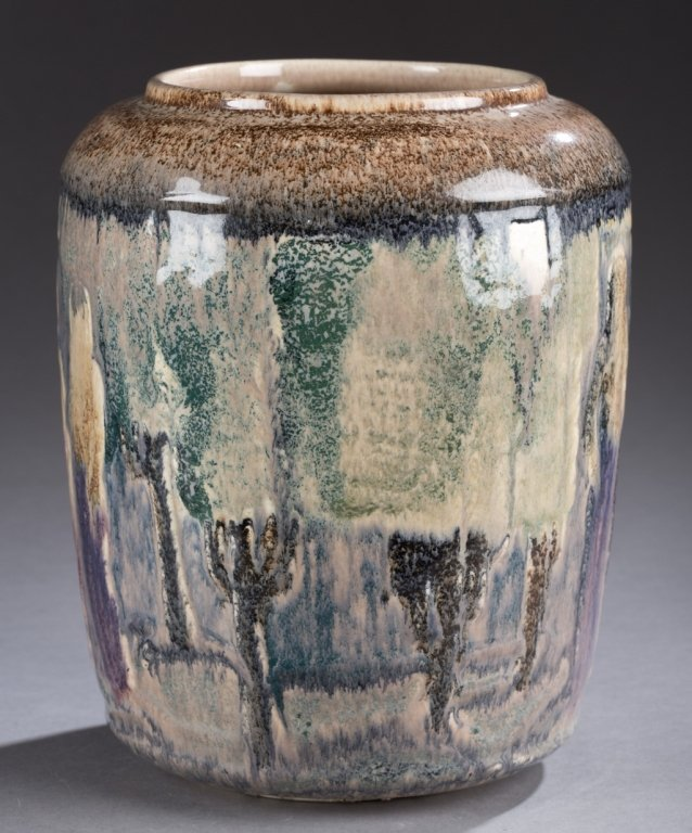 A vase attributed to Cowan Pottery. Vase with  abstract