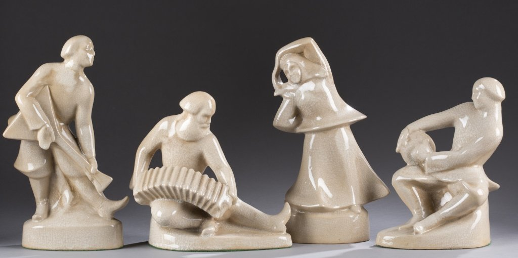 A Cowan Pottery  group of Russian peasant figures  by