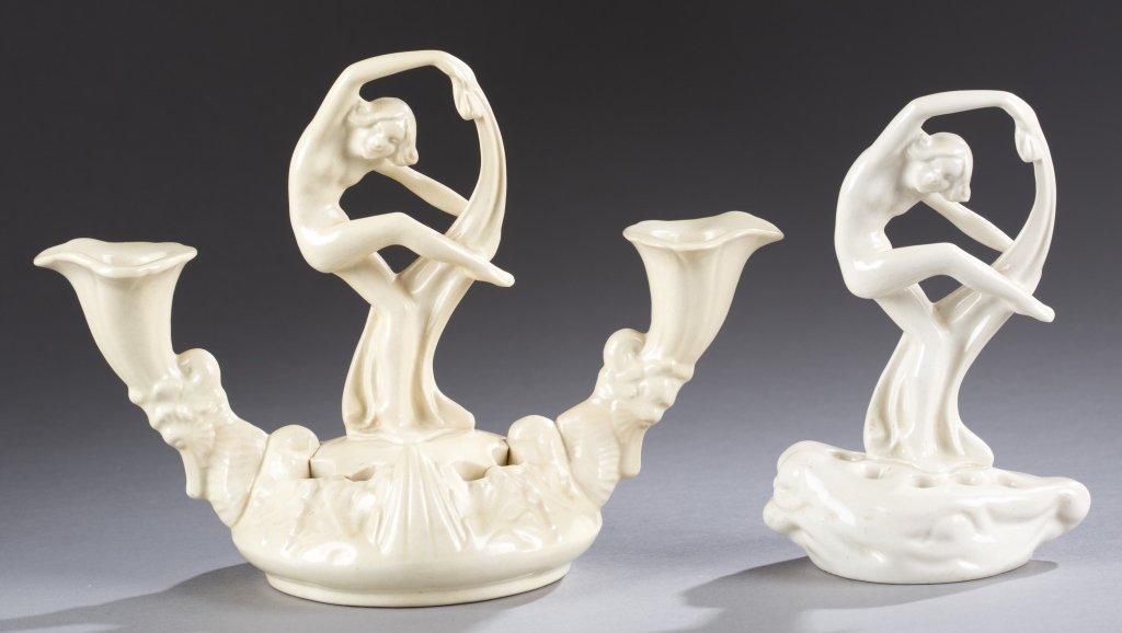 A Cowan Pottery Pavlova candelabra and Pavlova  figure