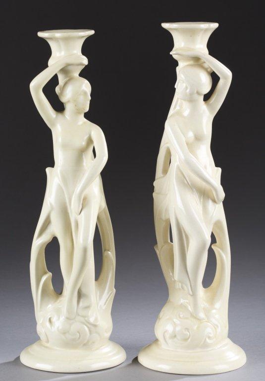 A Cowan Pottery pair of  figure candlesticks.c.  1927.