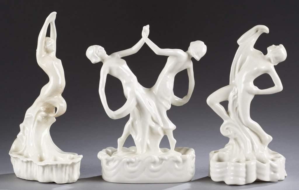 A Cowan Pottery group of  figures, The Diver, Duet  and