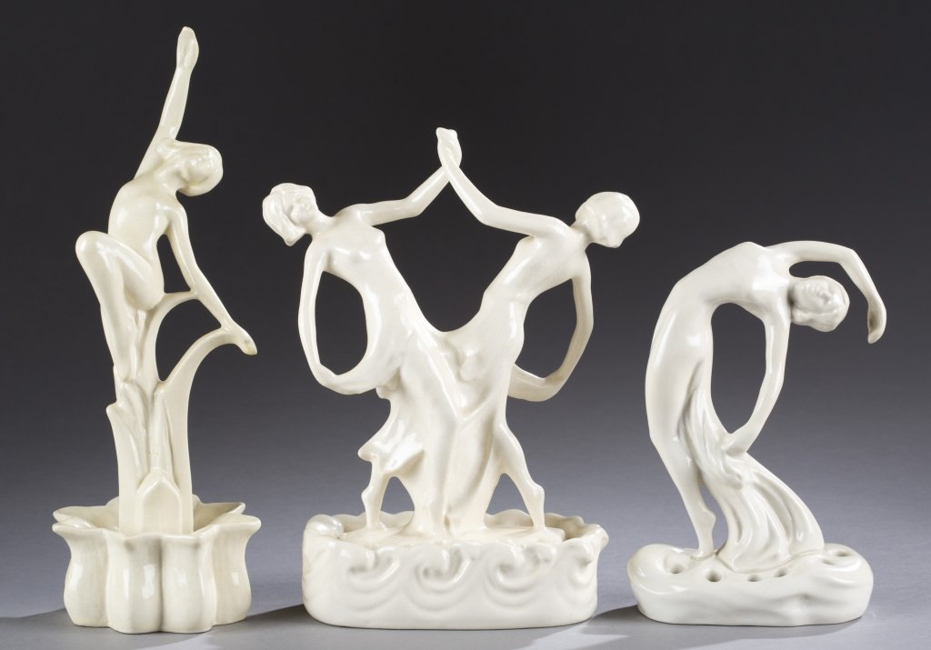 A Cowan Pottery group of  figures, Debutante, Duet  and