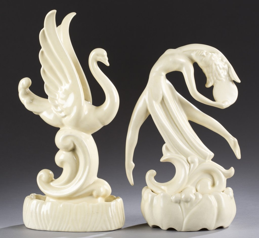 A Cowan Pottery  Swan and Tambourine Dancer by