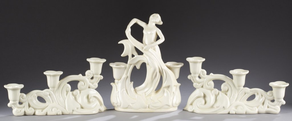 A Cowan Pottery large scarf dancer and pair of