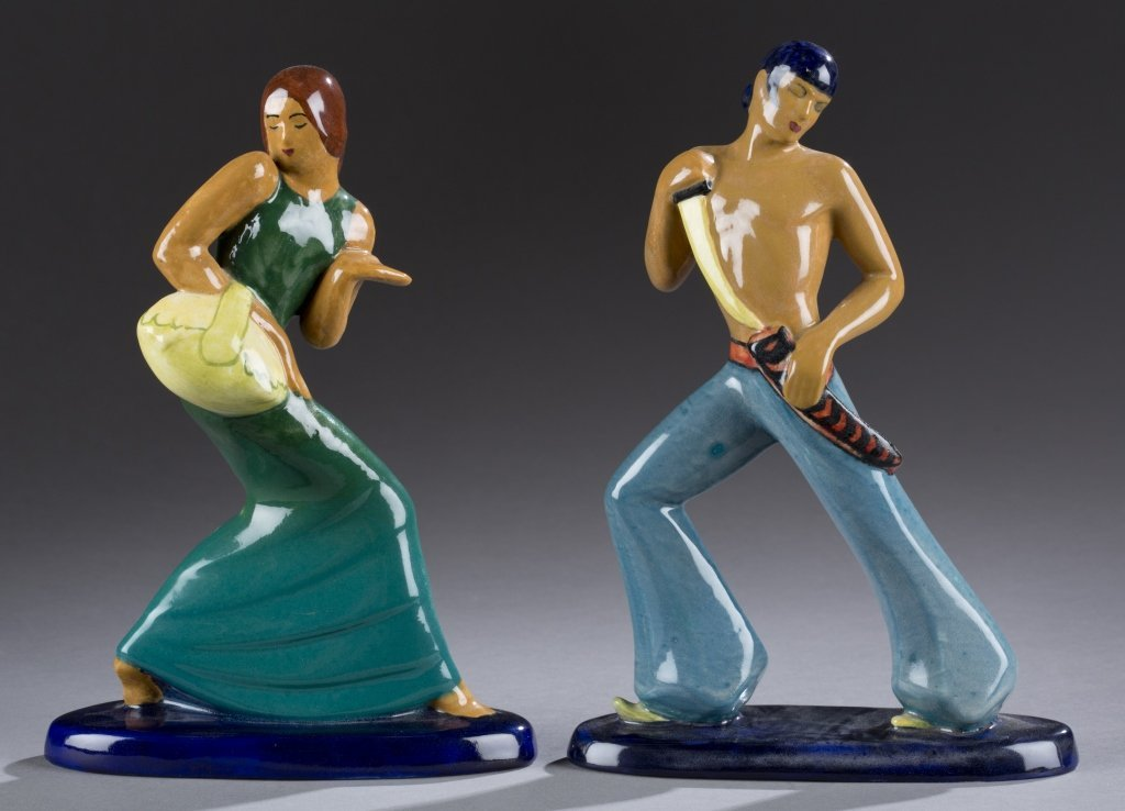 A Cowan Pottery  pair of hand glazed Spanish  dancers