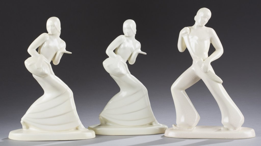 A Cowan Pottery group of three unpainted Spanish