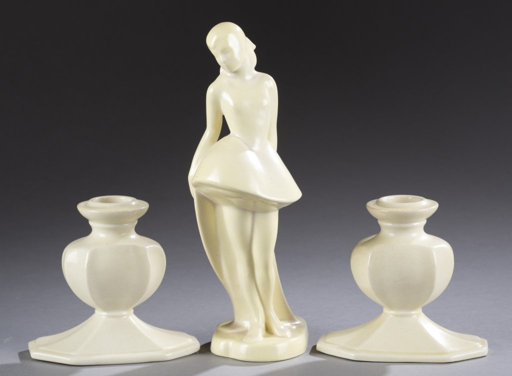 A Cowan Pottery Pierette figure and pair of small