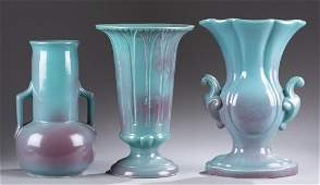 A Cowan Pottery group of three vases c 1930 All