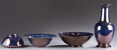 A Cowan Pottery group of four  pieces All copper