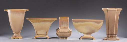 A Cowan Pottery group of five vases All caramel  Vase