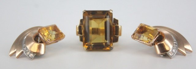 Gold plated and yellow quartz earrings and ring.