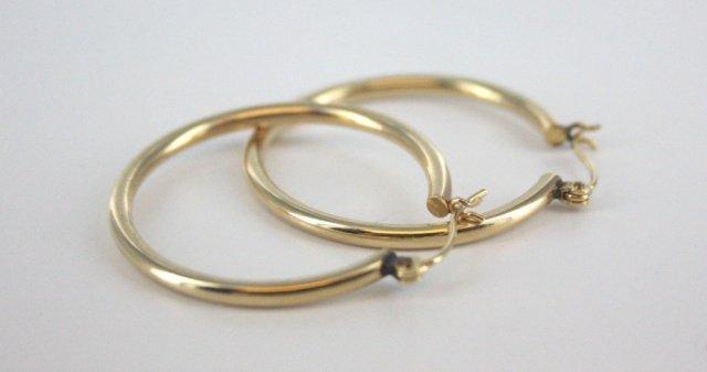 10kt gold hoop earrings.