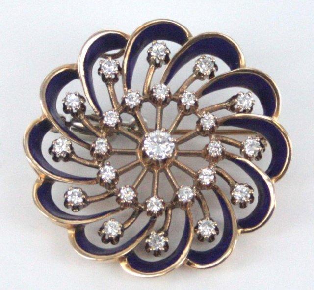 14kt gold, diamond, and enamel brooch.