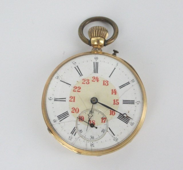 Ancre Ligne Droite 18kt 15 jewel pocket watch.