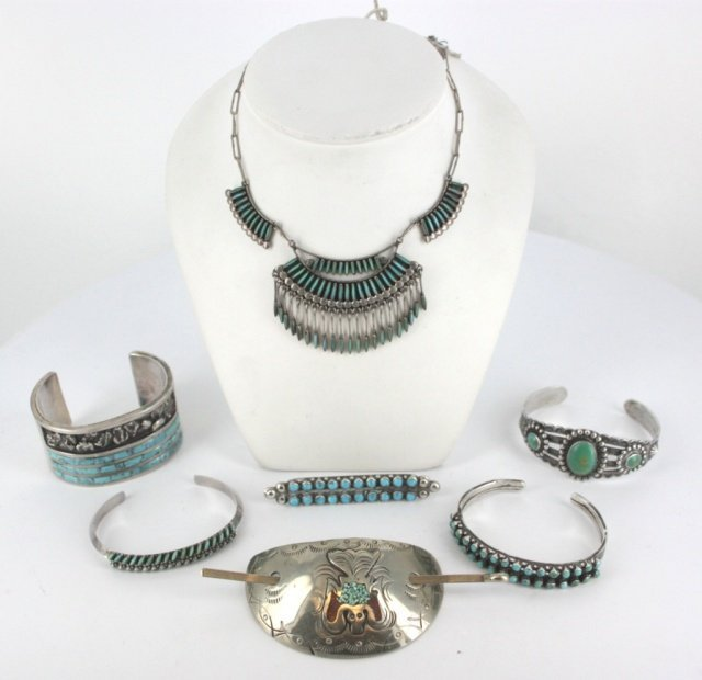 Lot of sterling silver and turquoise jewelry.