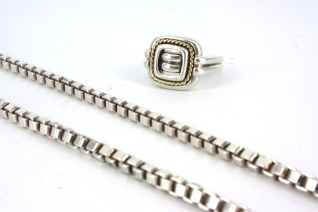 Tiffany & Co. Sterling silver ring and box chain.