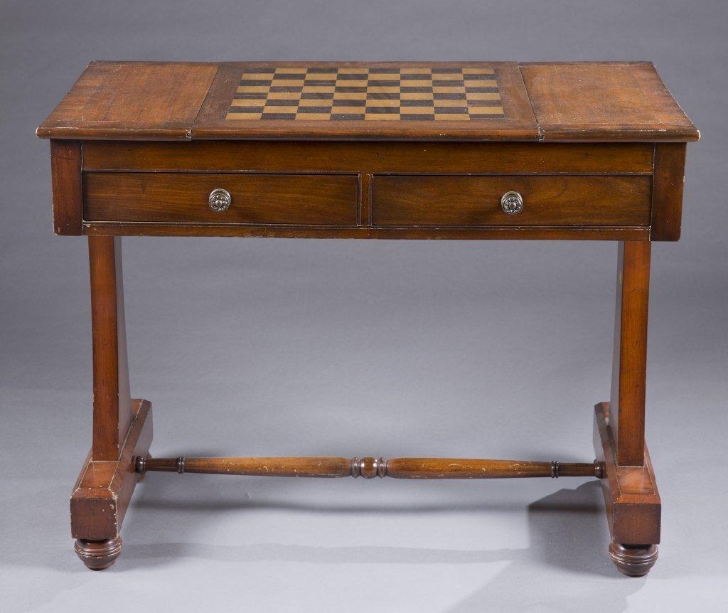 Mahogany Regency style inlaid games table.