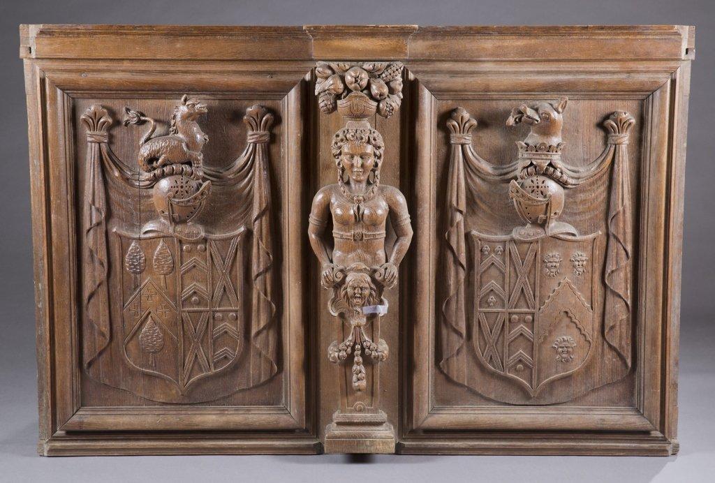 German decorative wooden panel.