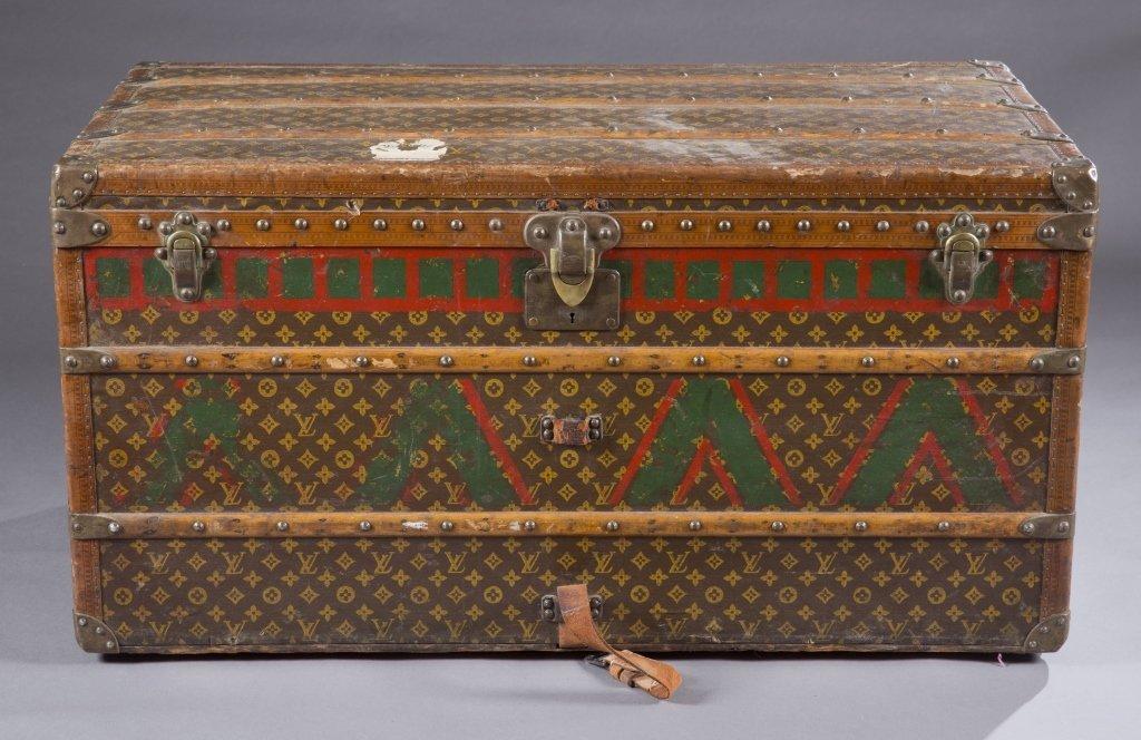 Antique Louis Vuitton Damier steamer trunk.