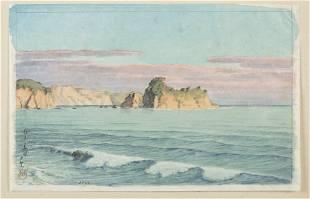 Kawase Hasui watercolor, Shiribeshi, Bikuni.