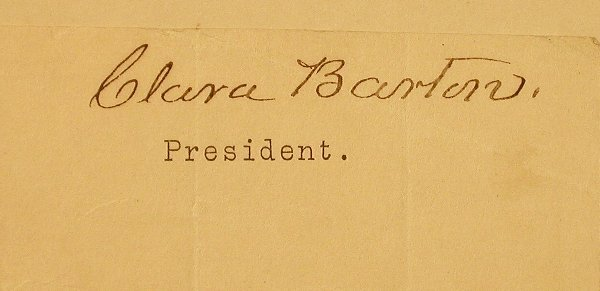 5: Barton, Clara (1821-1912) Clipped Signatur