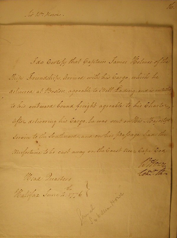 21: Howe, Sir William (1729-1814) Commander i