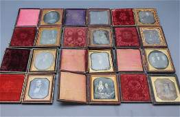 ~43 Daguerreotypes in full leather cases.