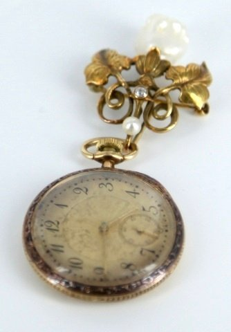 1880-1930's style ladies brooch pocket watch.
