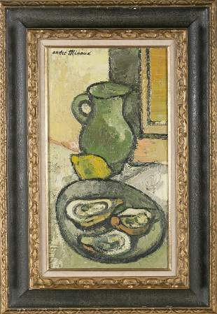 Andre Minaux, o/c,still life with oysters.