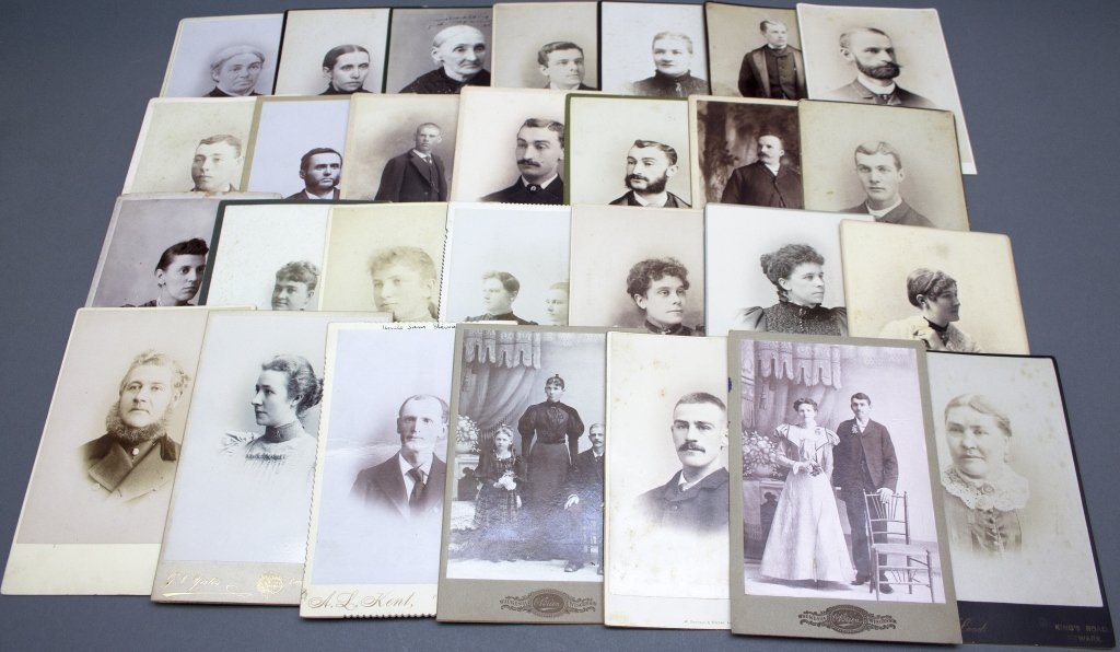 About 87 photographs. Mostly cabinet.
