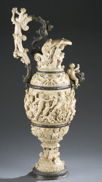 German, 19th c. silver and carved ivory ewer. - 3
