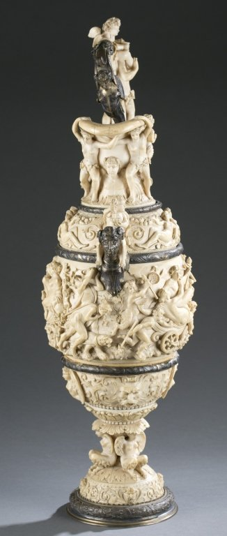 German, 19th c. silver and carved ivory ewer. - 4