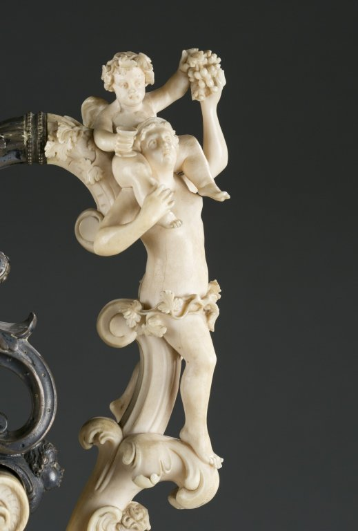 German, 19th c. silver and carved ivory ewer. - 5