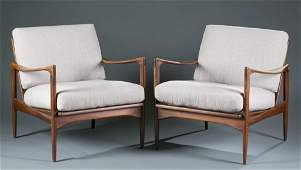 A pair of Mid Century Modern Swedish lounge chairs